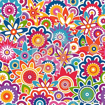 Free Colorful Floral Pattern. Seamless Background. Stock Photography - 36563482
