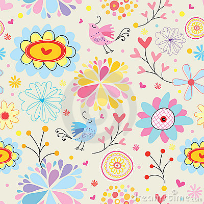 Free Colorful Floral Pattern With Birds Royalty Free Stock Photos - 14995538
