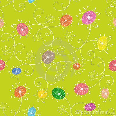 Colorful floral seamless pattern green background
