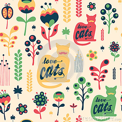 Free Colorful Floral Seamless Pattern With Love Cats. Stock Photo - 53390390