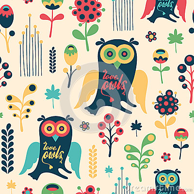 Free Colorful Floral Seamless Pattern With Love Owls. Stock Images - 53390364