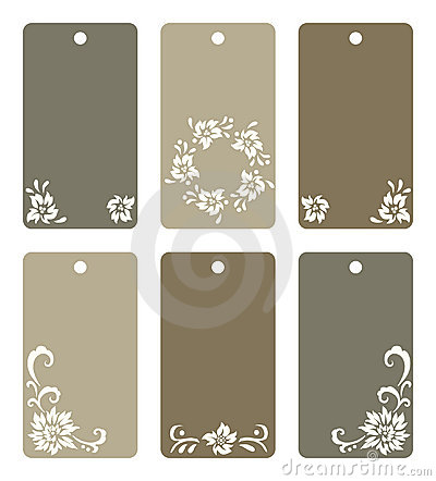 Colorful floral tags set