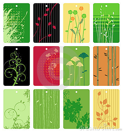 Colorful floral tags vector set