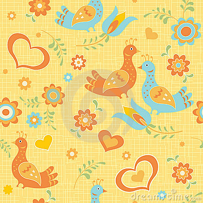 Colorful floral wallpaper folk style