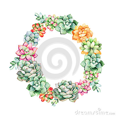Free Colorful Floral Wreath With Leaves,succulent Plant,branches Royalty Free Stock Image - 87986026