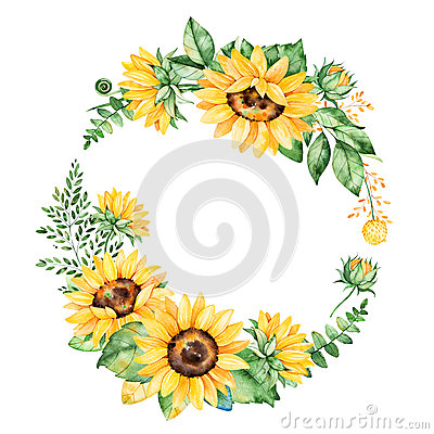 Free Colorful Floral Wreath With Sunflowers,leaves,foliage,branches,fern Leaves And Place For Your Text. Stock Image - 84497661