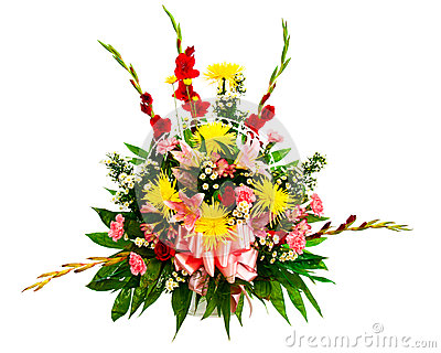 Colorful flower arrangement in basket