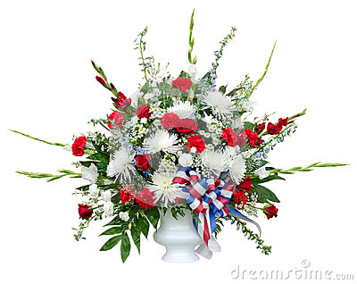 Colorful flower arrangement in urn