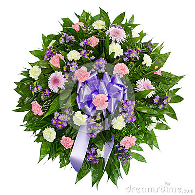 Colorful flower arrangement wreath for funerals