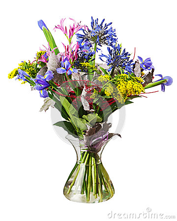 Colorful flower bouquet arrangement centerpiece in vase isolated on white background.