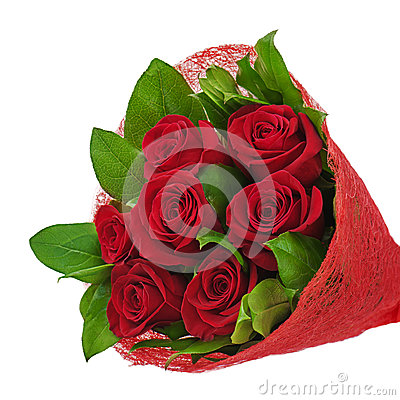 Colorful flower bouquet from red roses isolated on white backgro