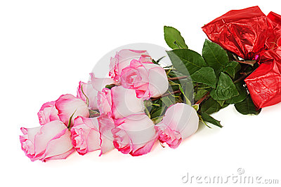 Colorful flower bouquet from roses isolated on white backgroun