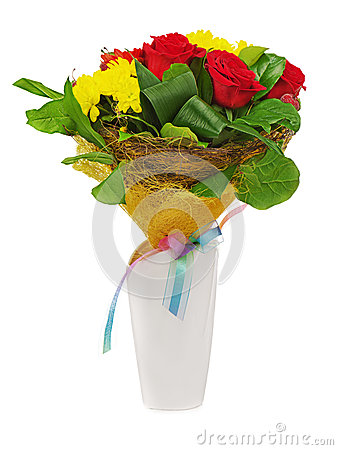 Colorful flower bouquet in white vase isolated