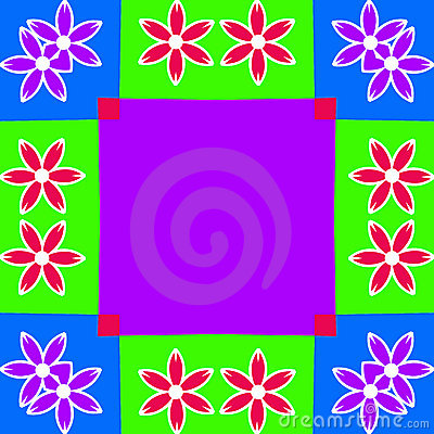 Colorful Flower Frame Background Illustration