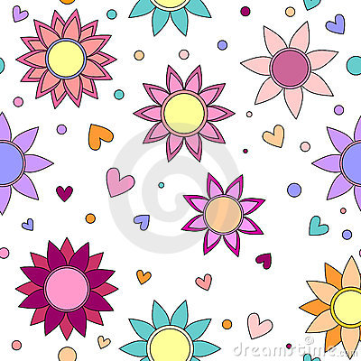 Colorful flower, heart and dot texture