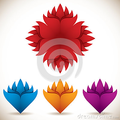 Colorful flower icons.