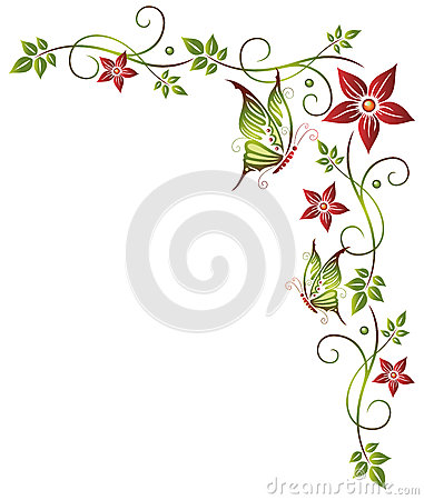 Colorful and abstract flowers with leaves and butterfly.