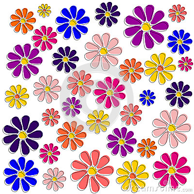 Colorful flowers drawn