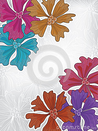 Colorful Flowers Grey Card_eps