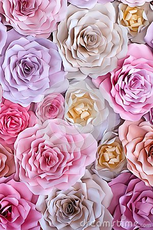 Free Colorful Flowers Paper Background. Red, Pink, Purple, Brown, Yellow And Peach Handmade Paper Roses Stock Image - 109498711
