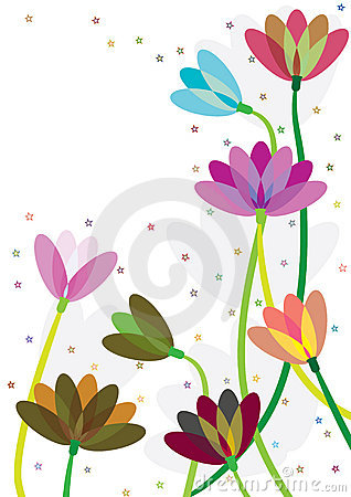 Free Colorful Flowers Stars Blowing_eps Royalty Free Stock Photography - 19853617