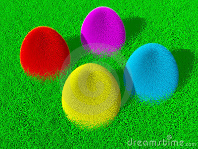 Colorful fluffy Easter eggs