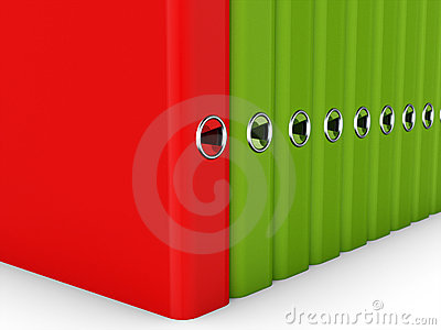 Colorful folders for documents in a row