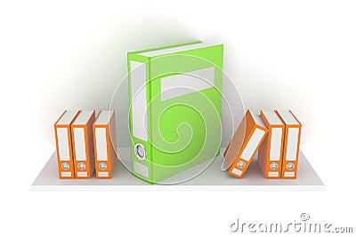 Colorful folders on a shelf.