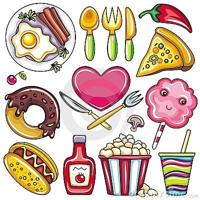Free Colorful Food Icons 2 Royalty Free Stock Image - 18981036