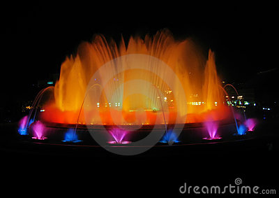 Colorful fountain in Barcelona