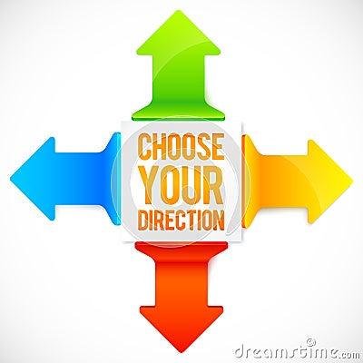 Colorful four directions vector arrows set