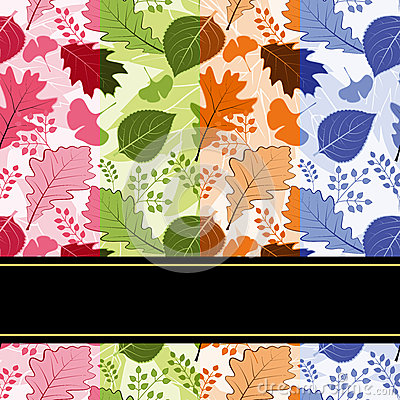 Colorful four season leaves seamless pattern