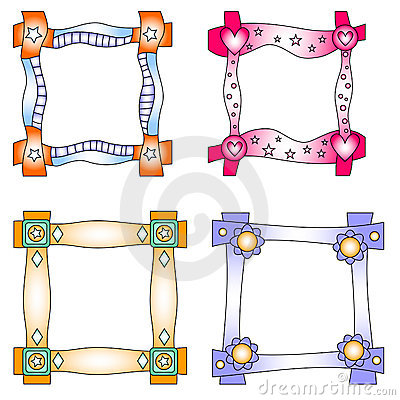 Colorful frames with hearts and flowers