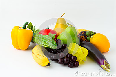 Colorful fresh vegetables and fruits