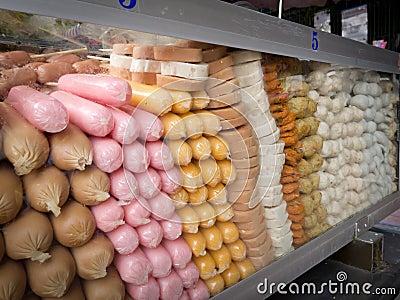 Colorful frozen sausages