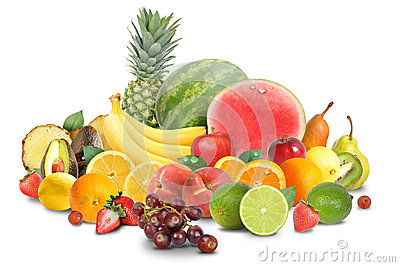 Colorful Fruit Arrangement Isolated on White