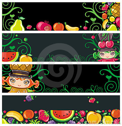 Colorful fruit banners.