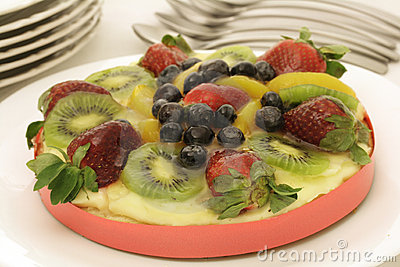 Colorful fruit custard tart