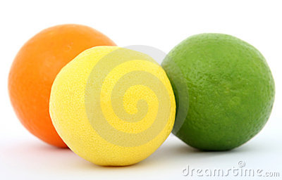 Colorful fruit lemon lime and orange