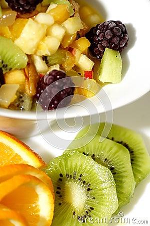 Colorful fruit salad dessert