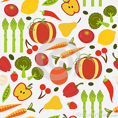 Colorful fruit and vegetables seamless background