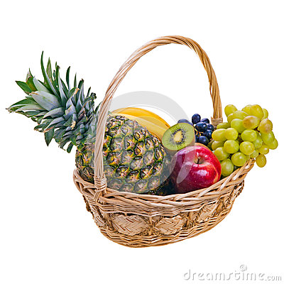 Colorful fruits in basket