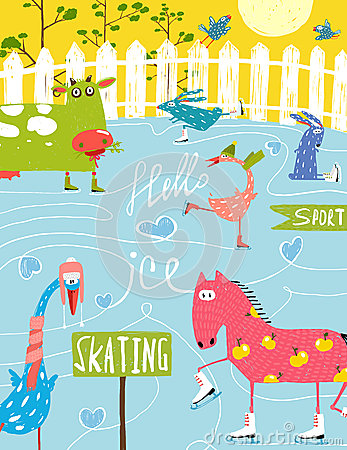Free Colorful Fun Cartoon Farm Ice Skating Animals For Royalty Free Stock Photography - 54406317