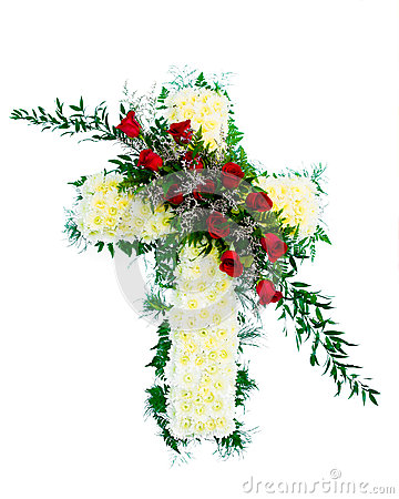 Free Colorful Funeral Flower Arrangement In Cross Shape Stock Images - 25782704