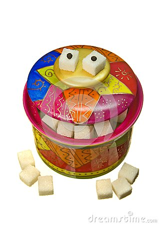 Colorful funny sugar-bowl, isolated