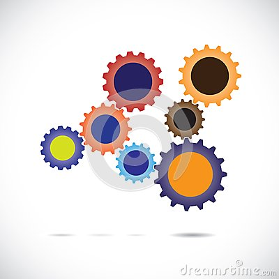 Colorful gear of abstract cogwheels in motion