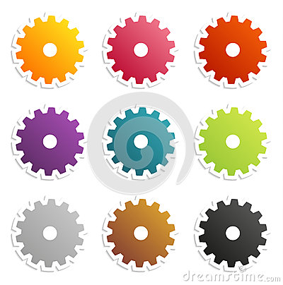 Colorful gear labels