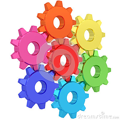 Colorful gear wheels isolated on white