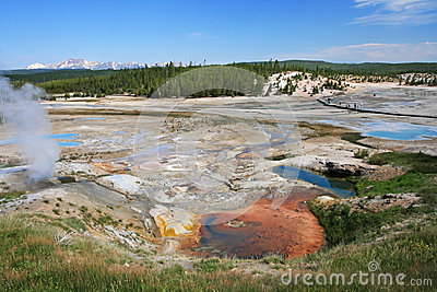 Colorful Geyser Basin in Yellowstone