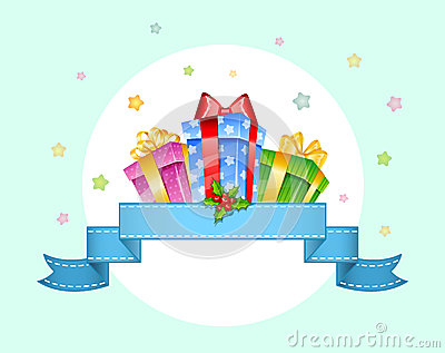 Colorful gift boxes with bows